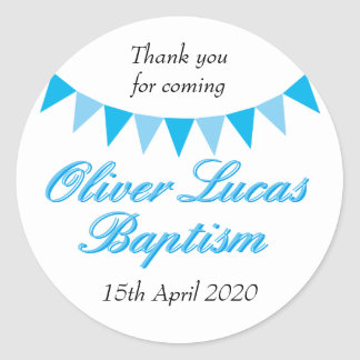 Baby Bunting Blue Baptism Christening Favour Classic Round Sticker