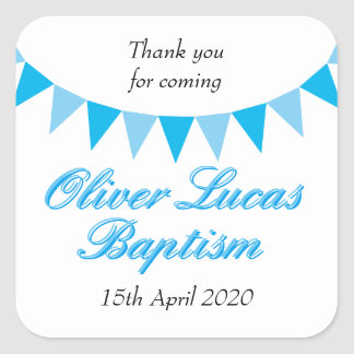 Baby Bunting Blue Baptism Christening Favour Square Sticker