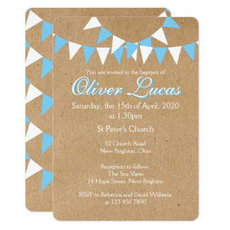 Baby Bunting Blue Baptism Christening Invitation