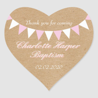 Baby Bunting Pink Baptism Christening Favor Heart Sticker