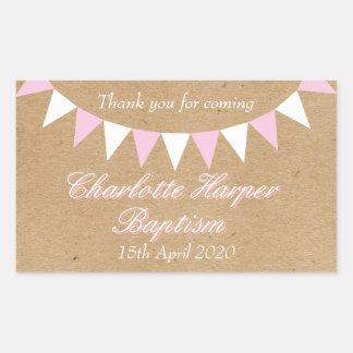Baby Bunting Pink Baptism Christening Favor Rectangular Sticker