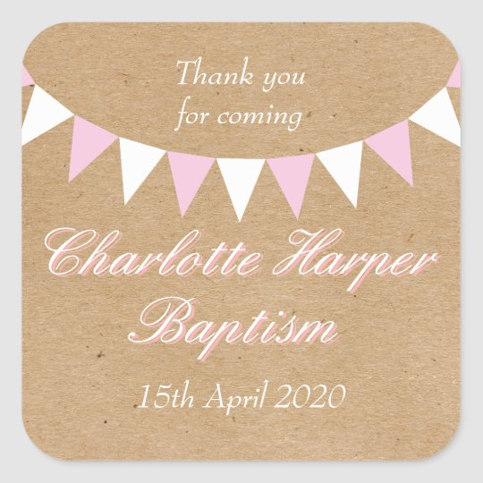 Baby Bunting Pink Baptism Christening Favour Square Sticker
