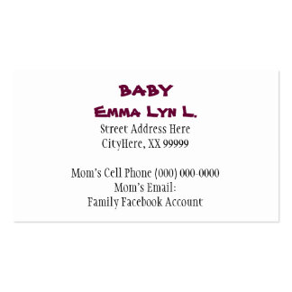 Baby Business Cards Little Girl's Shoes Pink