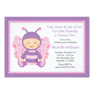Baby Butterfly Birthday Party Invitation