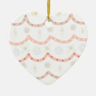 Baby Cakes. Sweet pastel colourful pattern Ceramic Heart Decoration