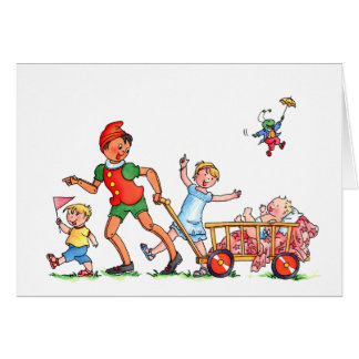 "Baby card ""Pinocchio with Big Brother & Sister"""
