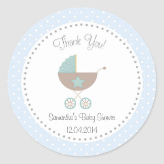 Baby Carriage Baby Shower Sticker Blue