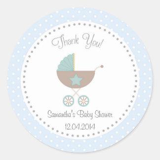Baby Carriage Baby Shower Sticker Blue