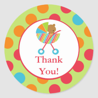 Baby Carriage Bear Baby Thank You Shower Sticker
