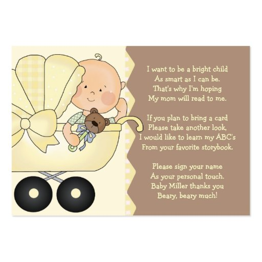 Baby Carriage -  Book Insert Card Pack Of Chubby Business Cards