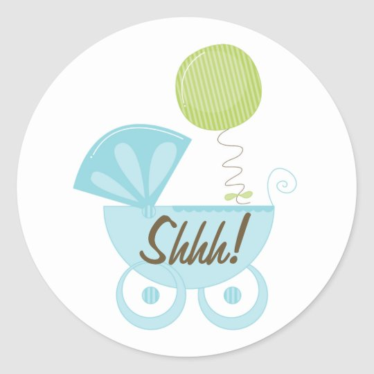 Baby Carriage Shhh! Classic Round Sticker
