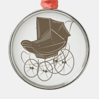 Baby Carriage Silver-Colored Round Decoration