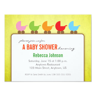 Baby Carriages Gender Neutral Baby Shower 11 Cm X 14 Cm Invitation Card