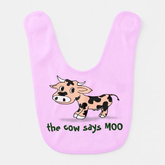 Baby Cartoon Moo Cow, farm animal sounds Bib