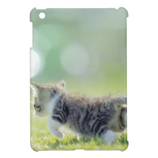 Baby cat running on grass field. iPad mini case