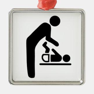 Baby Change Symbol Silver-Colored Square Decoration