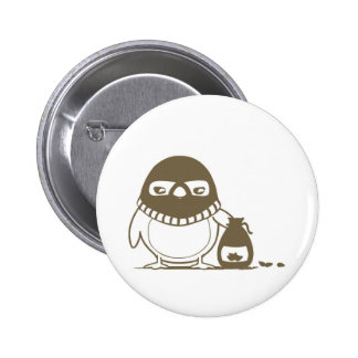 Baby Chick Cartoon Bank Robber Button