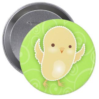 Baby Chick Green Swirls Button