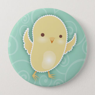 Baby Chick Teal Swirls Button