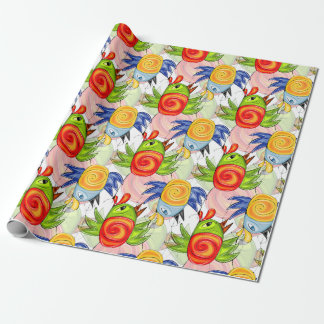 Baby chicken rooster bright doodle design wrapping paper