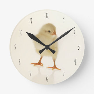 Baby chicken round clock