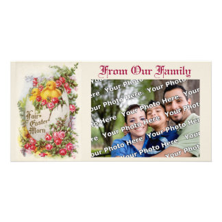 Baby Chicks and Roses Easter Photo Card