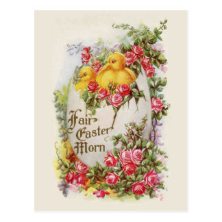 Baby Chicks and Roses Vintage Easter Postcard