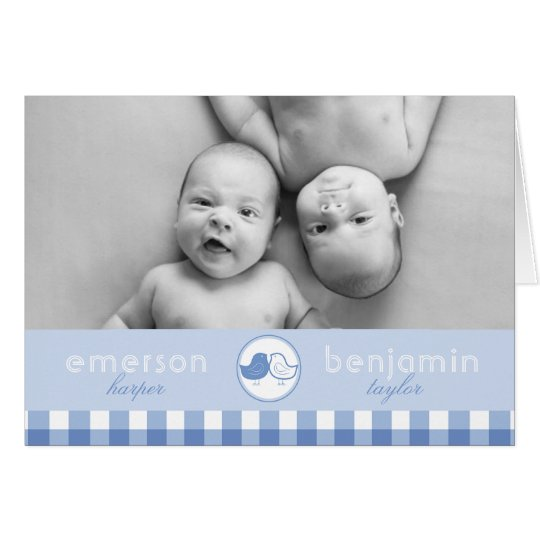 Baby Chicks Twin Boys Photo Birth Announcement