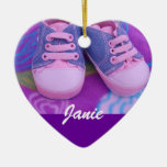 Baby Child's Name Ornament gifts Pink Shoes