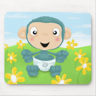 baby chimp in field of flowers mouse mat