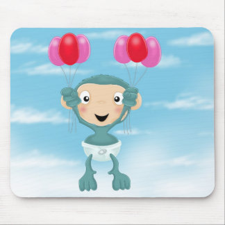 baby chimp with balloons mouse pad