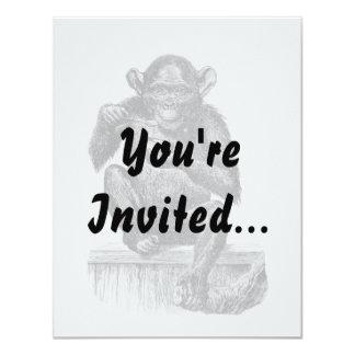 Baby chimpanzee monkey vintage drawing 11 cm x 14 cm invitation card