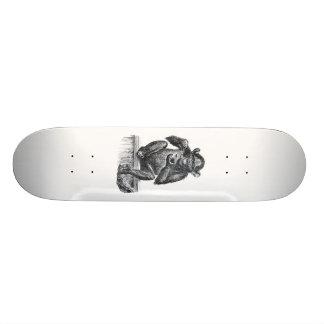 Baby chimpanzee monkey vintage drawing skateboard deck