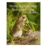 Baby Chipmunk Try Quote Poster