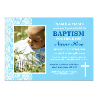 Baby Christening Baptism Boy Blue Photo Invitation