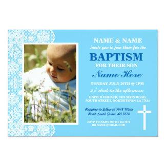 Baby Christening Baptism Boy Blue Photo Invitation