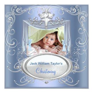 Baby Christening Baptism Boy Blue Silver Cross 13 Cm X 13 Cm Square Invitation Card