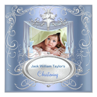 Baby Christening Baptism Boy Blue Silver Cross 5.25x5.25 Square Paper Invitation Card