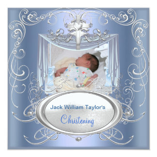 "Baby Christening Baptism Boy Blue Silver Cross 5.25"" Square Invitation Card"
