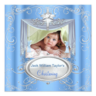 Baby Christening Baptism Boy Blue Silver Cross 13 Cm X 13 Cm Square Invitation Card