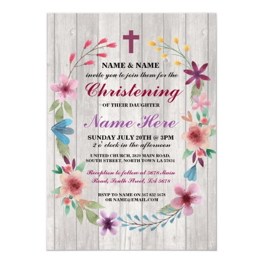Baby Christening Baptism Floral Cross Wood Invite