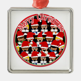 Baby Christmas Choir  - Merry Christmas Silver-Colored Square Decoration