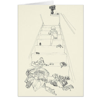 Baby Climbing the Stairs Drawing Funny Family Art Card