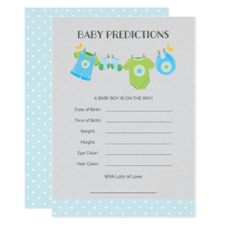 Baby Clothes Baby Predictions Card