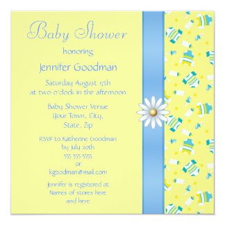 Baby Clothes, Bow & Daisy Baby Shower 13 Cm X 13 Cm Square Invitation Card