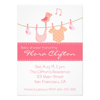 Baby clothes hanging on clothesline with pink bird personalized invitations