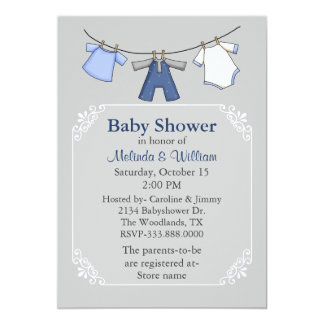 Baby Clothes Line Baby Shower Invitation