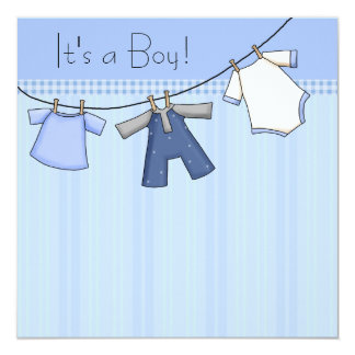 Baby Clothesline Baby Boy Clothes Baby Shower 13 Cm X 13 Cm Square Invitation Card