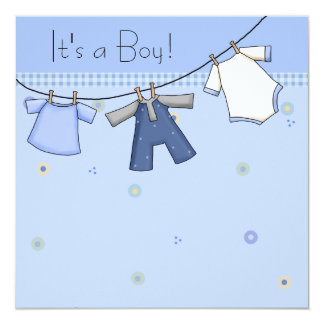 Baby Clothesline Baby Boy Clothesline Baby Shower 13 Cm X 13 Cm Square Invitation Card