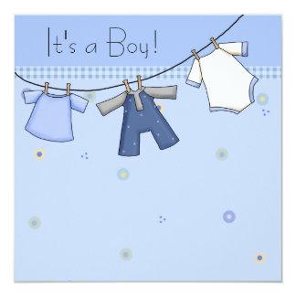 Baby Clothesline Baby Boy Clothesline Baby Shower Personalized Invite